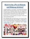 Want to Be a Pro at Beauty and Makeup Artistry ?