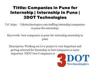 Best Companies in Pune for Internship | Internship in Pune