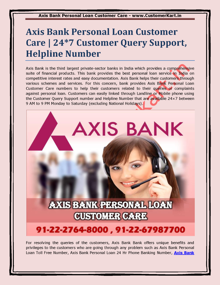 Axis Bank Personal Loan Customer Care 247 Customer Query Support Authorstream