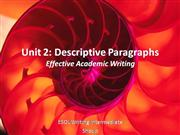 Unit 2 EAW: Descriptive Paragraphs