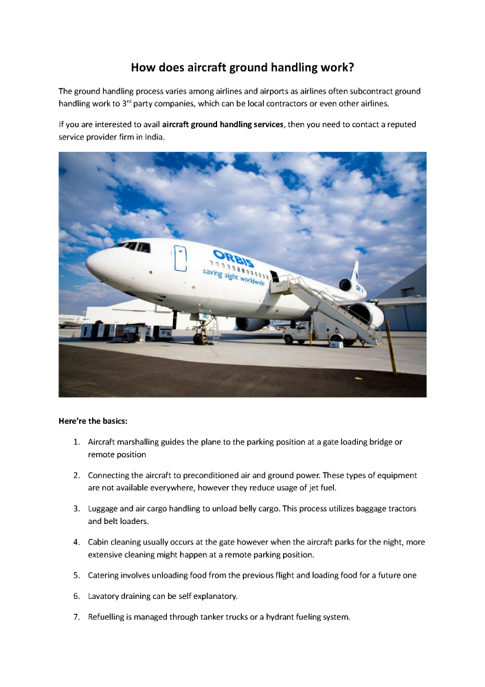 Vision Aviation Global is the Best Ground Handling Company