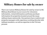 Military Homes for sale by owner