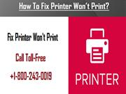 How To Fix Printer Won't Print? Call for Help 1800-243-0019