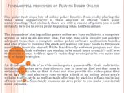 Fundamental principles of Playing Poker Online
