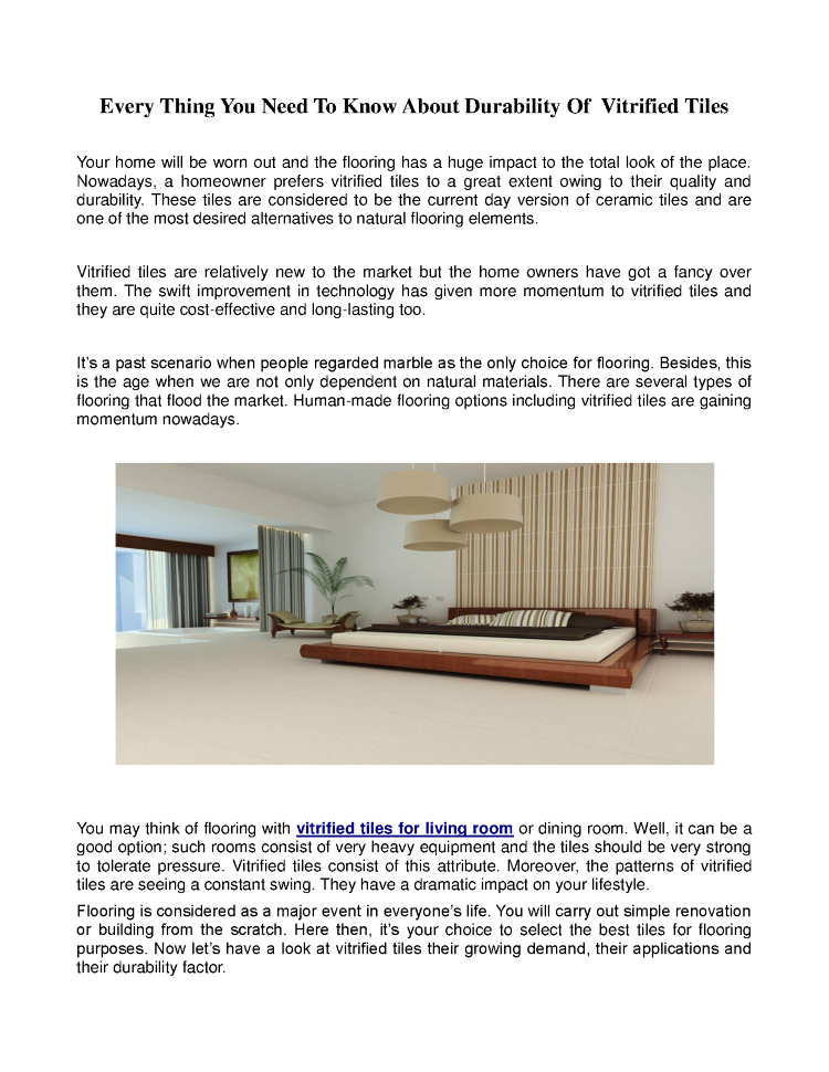 Every Thing You Need To Know About Durability Of Vitrified Tiles
