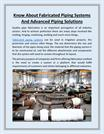 Know About Fabricated Piping Systems and Advanced Piping Solutions