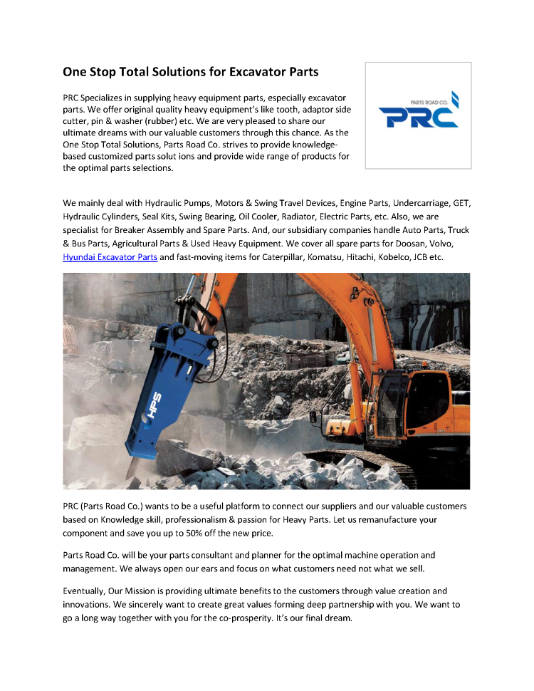 One Stop Solutions In Budget: One Stop Total Solutions For Excavator Parts