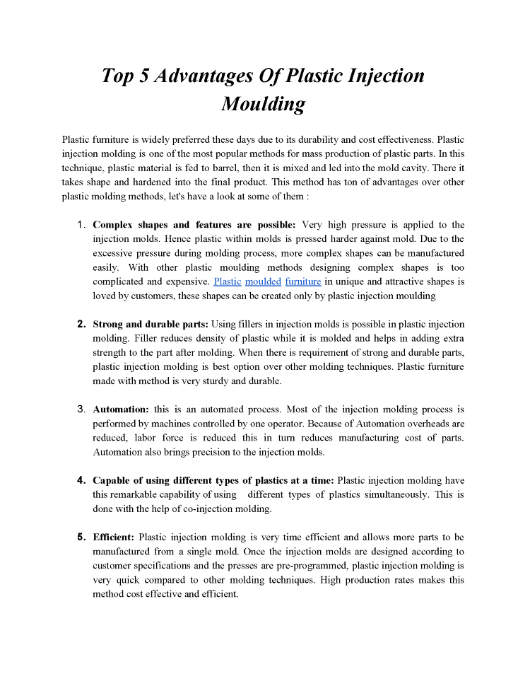 Italicafurniture - Top 5 Advantages of Plastic Injection Moulding