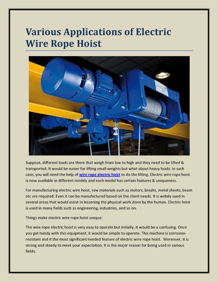 Various Applications of Electric Wire Rope Hoist |authorSTREAM