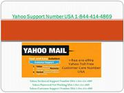 Yahoo Support Number USA 1-844-414-4869