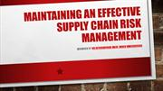 Maintaining An Effective Supply Chain Risk Management