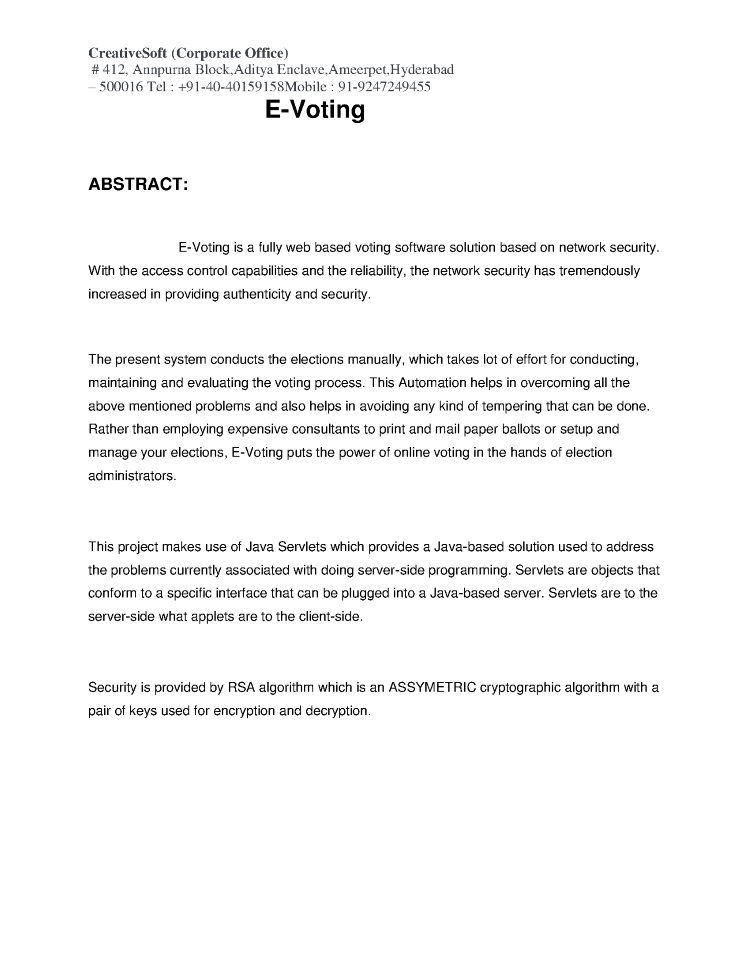 E-Voting System Abstract |authorSTREAM