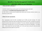 Benefits of Quality Management Certification  (ISO:9001:2008) for your