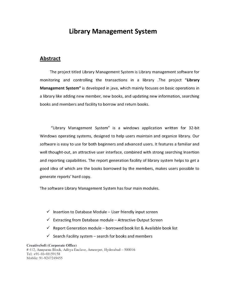 Library Management System Abstract Authorstream