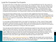 Look for Corporate Tax Experts
