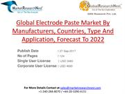 Global Electrode Paste Market By Manufacturers, Countries, Type And Ap