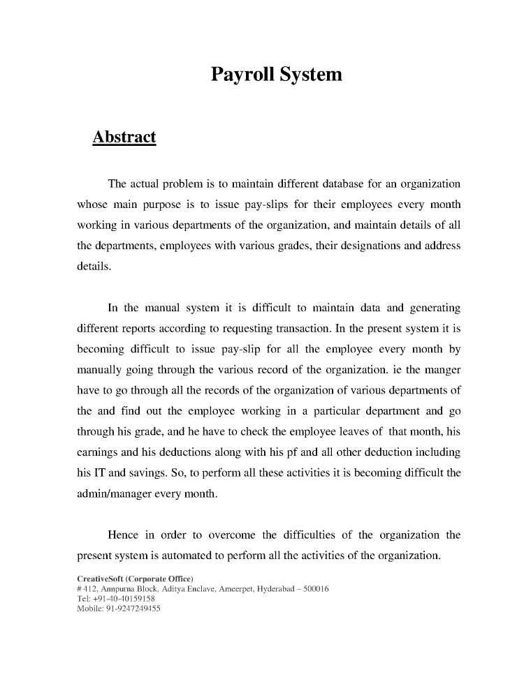 payroll management system project abstract