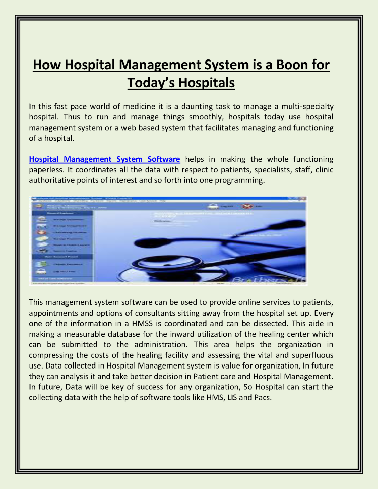 How Hospital Management System is a Boon for Today'S Hospitals