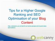 Tips for a Higher Ranking & SEO Optimisation of Blog Content