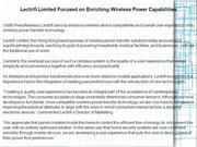 Lectrifi Limited Focused on Enriching Wireless Power
