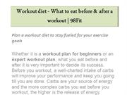 Workout Diet - What to Eat Before & After A Workout | 98Fit