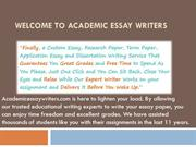 Welcome to Academic Essay Writers