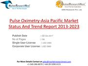 Pulse Oximetry-Asia Pacific Market Status And Trend Report 2013-2023