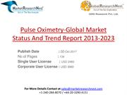 Pulse Oximetry-Global Market Status And Trend Report 2013-2023