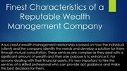 Finest Characteristics of a Reputable Wealth Management Company