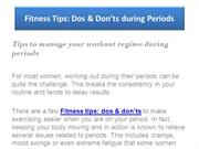 Fitness Tips: Dos & Don'ts during Periods