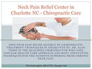 Neck Pain Relief Center in Charlotte NC -