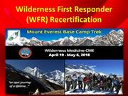 Wilderness First Responder (WFR) Recertification