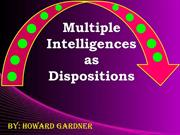 Multiple Intelligence as Dispositions