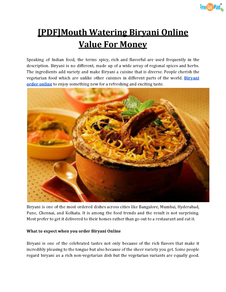 Pdfmouth watering biryani online value for money authorstream pdfmouth watering biryani online value for money forumfinder Image collections
