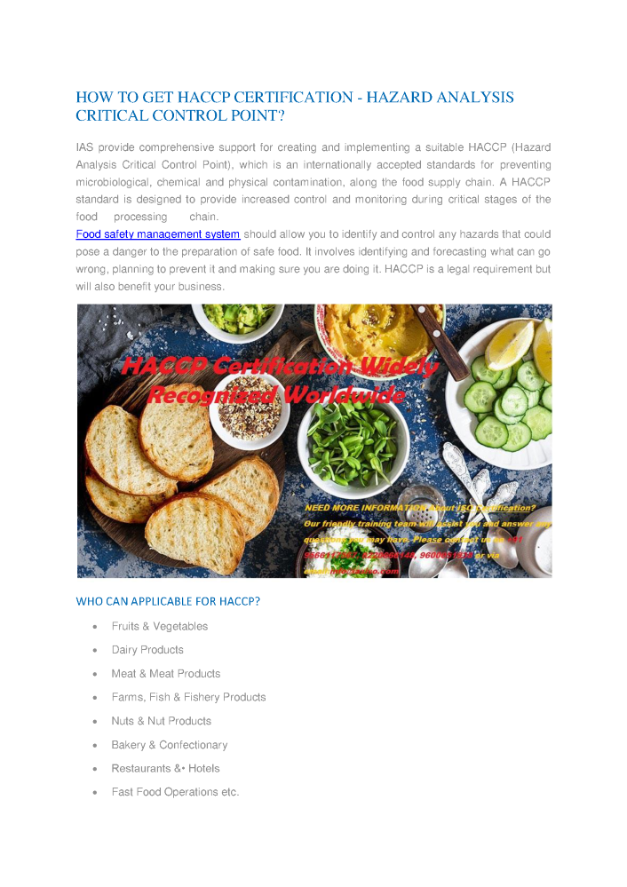 Haccp Certification Provider In India Haccp Certification Proces