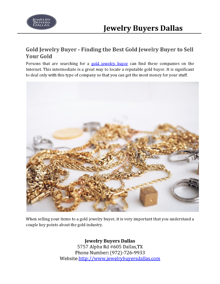 Gold Jewelry Buyer - Finding the Best Gold Jewelry Buyer to