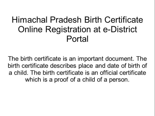Himachal Pradesh Birth Certificate Online Registration at E