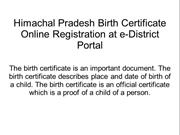 Himachal Pradesh Birth Certificate Online Registration at e-District P