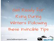 Get Ready for Rving During Winters Following these Invincible Tips