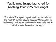 Yatrik' mobile app launched for booking taxis in West Bengal