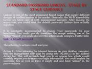 Standard password Linksys - Stage by Stage Guidance