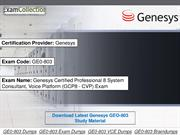 Free Examcollection GE0-803 Dumps
