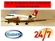 Sky Air Ambulance from Hyderabad to Delhi at low fare