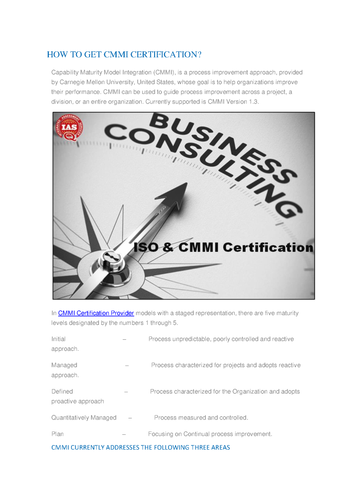 Cmmi Certification Service Provider How To Get Cmmi Certificatio