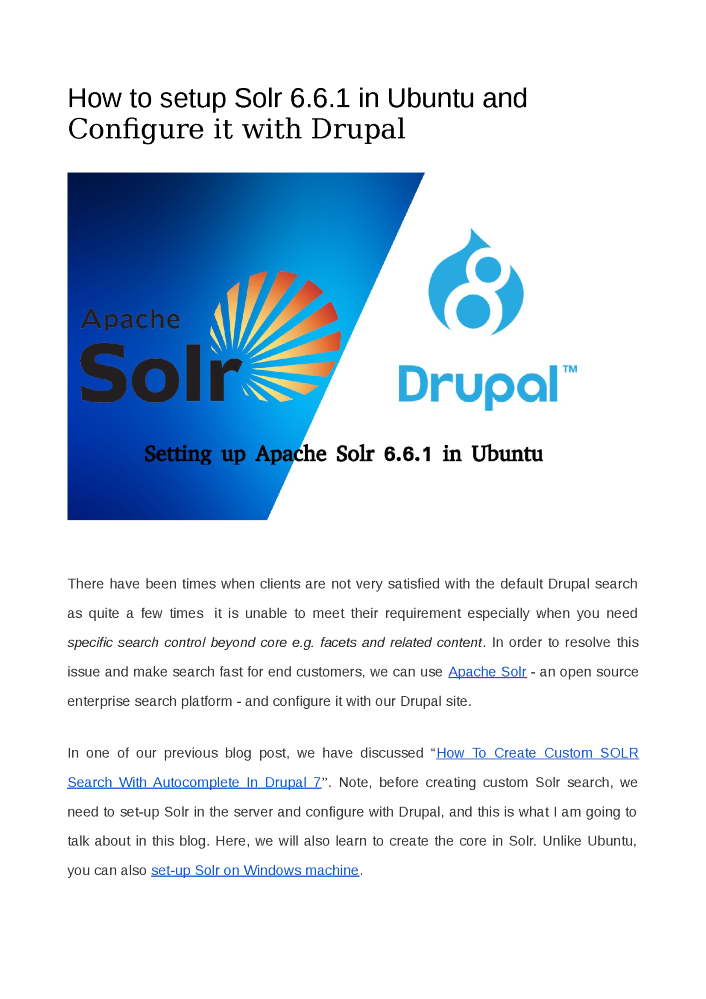 Configure Apache Solr With Drupal for Better Content Search
