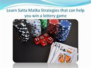 Winning Strategy of Satta Matka Game | Satta Matka