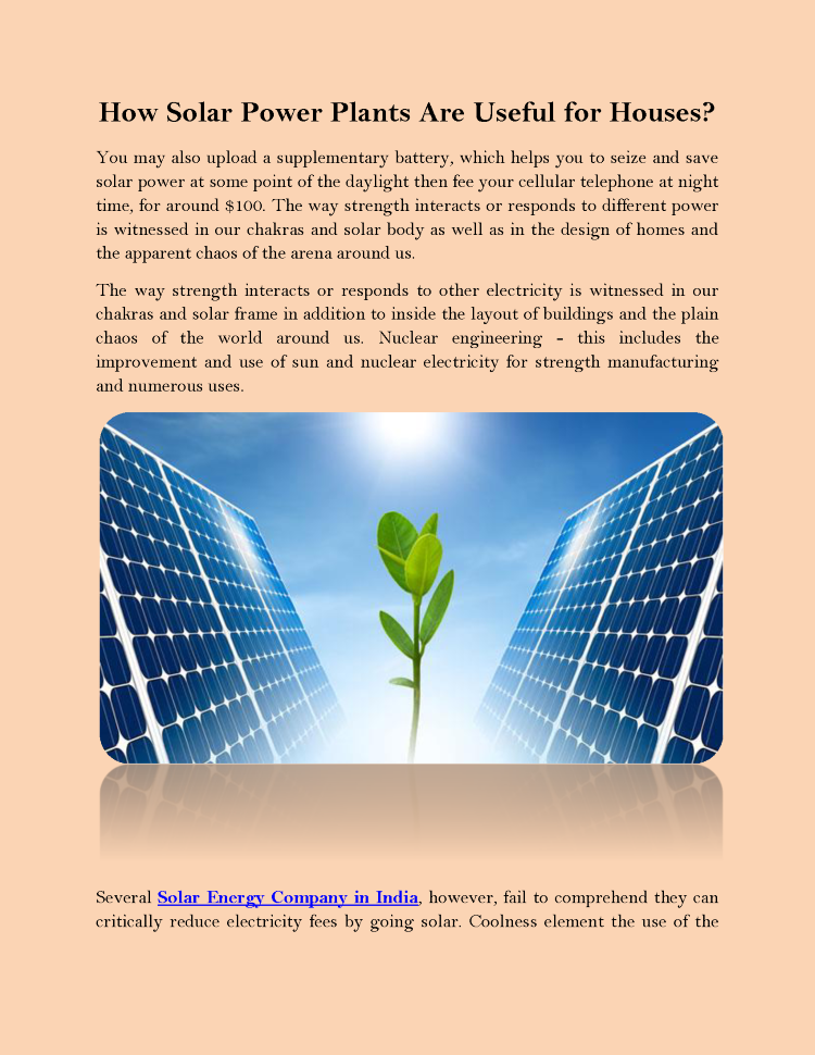 how solar power plants are useful for houses
