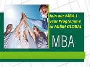 Join our MBA 1 year Programme to MIBM GLOBAL