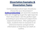 Dissertation Examples and Topics