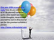 One year MBA programs in India inside the useful